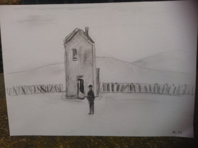 Sketch impression of 'Derelict House' by Antony M, Lowry gallery member of staff.