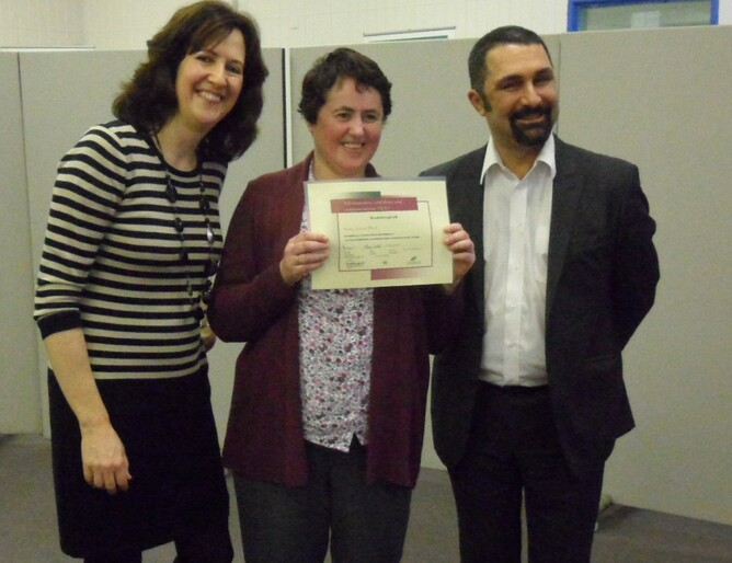 Joanne with her certificate from the Breakthrough UK course - with Jane Cordell and Hormoz Ahmadzadeh