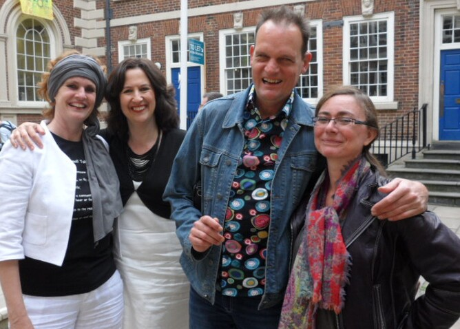 Niet Normaal's curator, Ine Gevers with Jane, comedian, VIncent Bijlo and his wife, Marisa