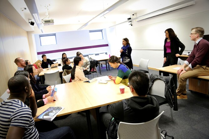 Jane Cordell working with Leeds Business School post-graduates (2017)